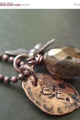 ON SALE Bee necklace, Honey Bee Necklace, Bumble bee necklace, Copper necklace, copper jewelry