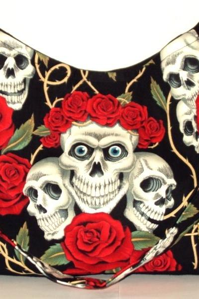 Rose Tattoo Skulls and Red Roses Goth Punk Skeleton Thorns Rockabilly Handbag