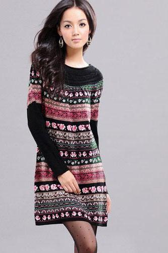 Women's Stylish Scoop Neck Floral Stripe Print Long Sweater Dress