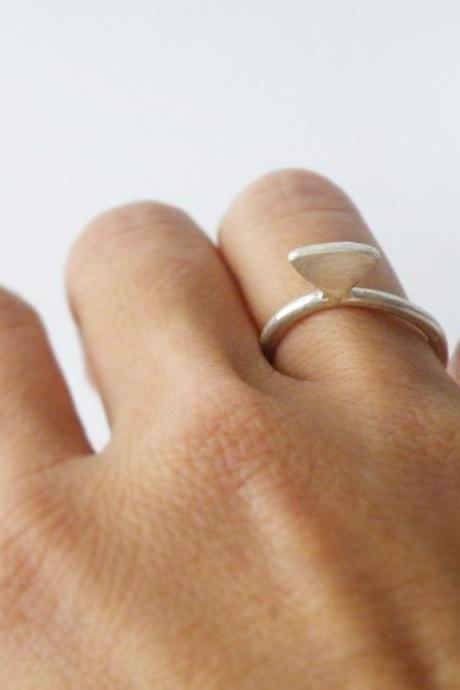 Sterling Silver Diamond Stacking Ring Geometric Ring Minimalist Ring Edgy Modern Jewelry by SteamyLab