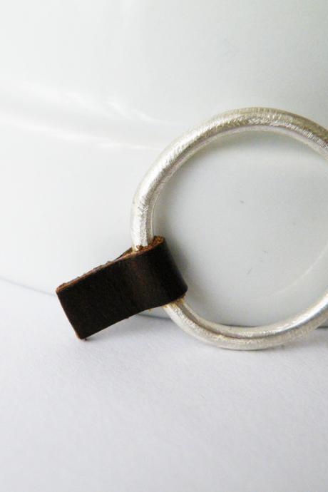 Silver Stacking Ring Brown Leather Ring Rock Glam Ring Minimalist Ring by SteamyLab