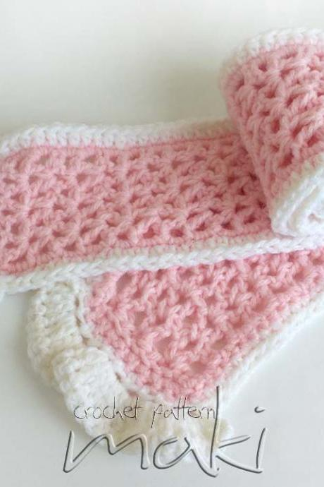 Crochet pattern scarf for baby, toddler or adult. Full of large pictures!