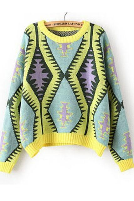 Comfy Pattern Print Scoop Neck Woman Pullovers - Yellow