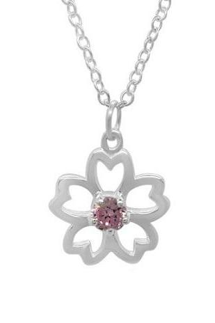Sterling Silver Girls Flower Necklace Pendant 925 Jewelry Pink CZ Cubic Zirconia Love Child Daughter