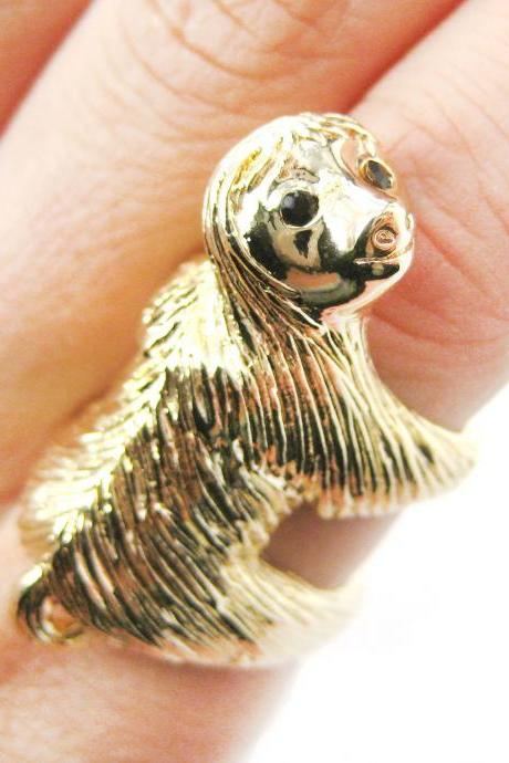Large Sloth Shaped Animal Hug Wrap Ring in Shiny Gold - US Sizes 4 to 9