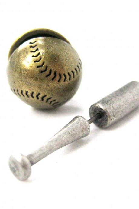 3D Fake Gauge Realistic Baseball Bat and Ball Shaped Stud Earrings