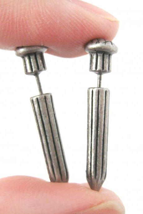 3D Fake Gauge Nail Shaped Taper Faux Plug Stud Earrings in Silver