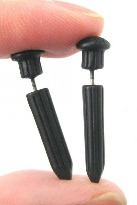 3D Fake Gauge Nail Shaped Taper Faux Plug Stud Earrings in Black
