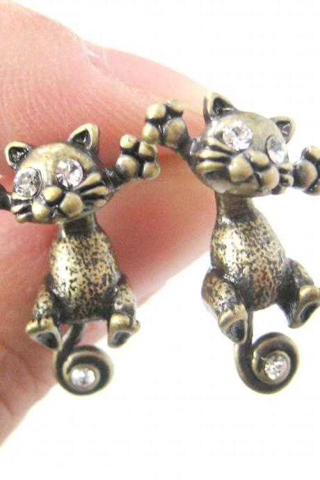Kitty Cat Shaped Two Part Animal Stud Dangle Earrings in Brass