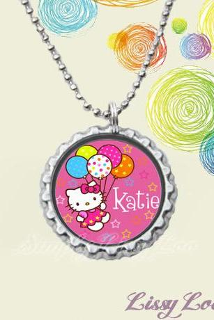 Personalized Kitty Birthday Party Bottle cap Necklace