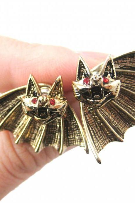 Bat Shaped Two Part Stud Animal Themed Earrings in Shiny Gold