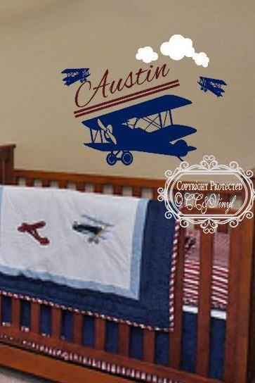 Boy's Personalized Airplane Room Decal