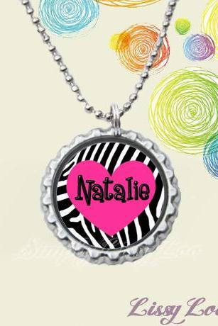 Hot Pink Zebra Heart Personalized Bottle cap Necklace