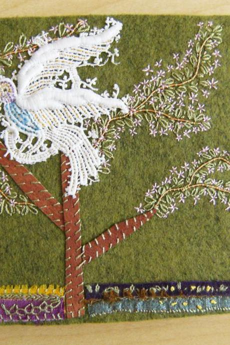 Forest Bird - Wool Felt Embroidered Journal - Artist Book - Hand Embellished - Ready to Ship