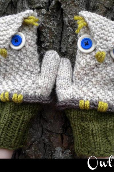 Owl Mittens Knitting Pattern