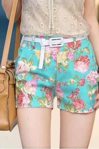 Whosale Price Fashion Floral Shorts With Belt