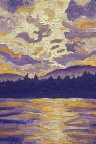 ORIGINAL Acrylic Painting - Okanagan Landscape in Purple and Hansa - 11x14 Warm Vintage Lake Sky Art