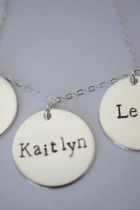 Personalized Sterling Silver triple disc necklace with children's name's on it