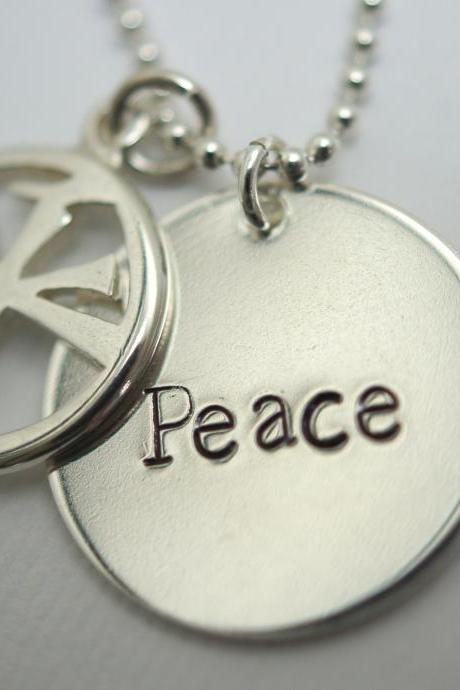 Sterling Silver Peace Necklace with Peace Symbol
