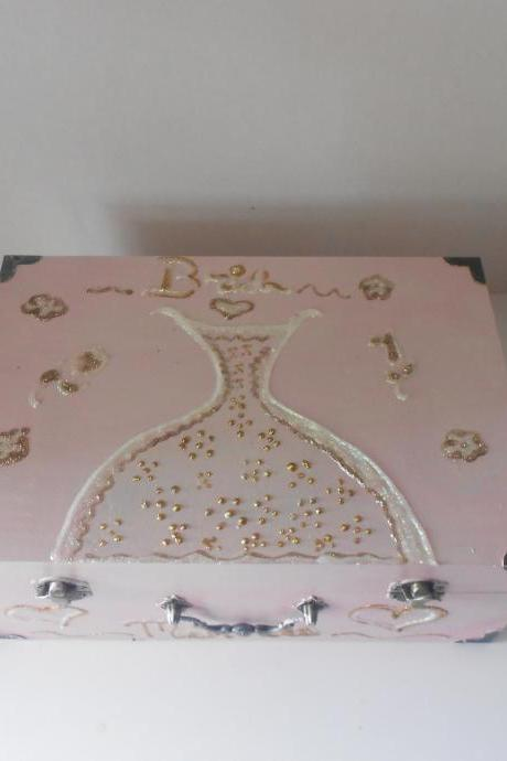 Diva Bride Hand painted Wooden wedding bridal memory box