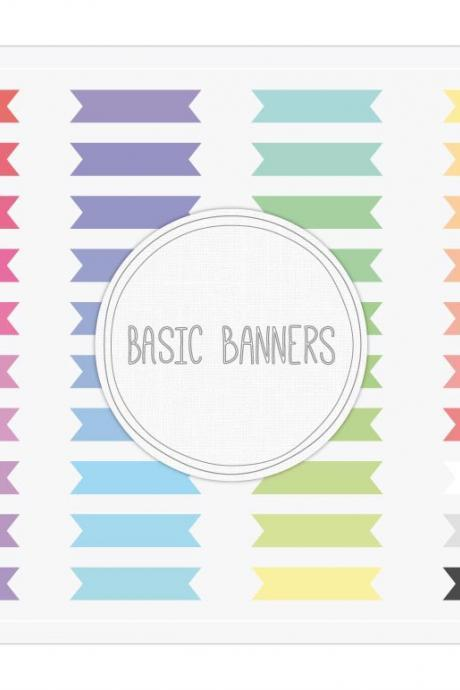 Basic Ribbon Banners Clip Art + Digital Collage Sheet