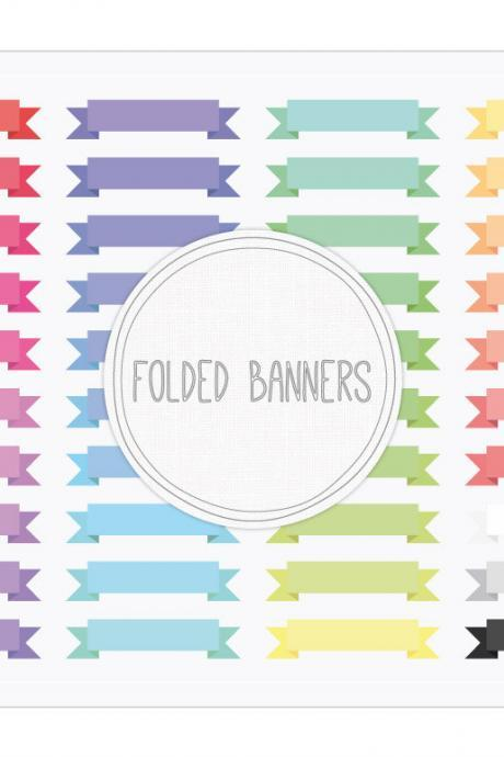 Folded Ribbon Banners Clip Art + Digital Collage Sheet