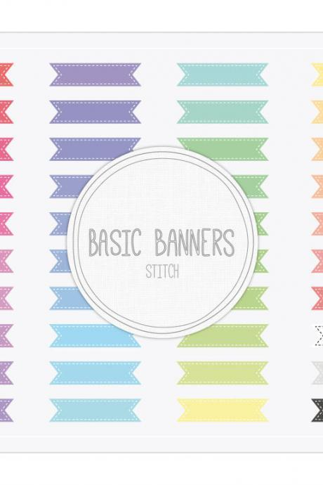 Basic Ribbon Banners Stitch Clip Art - INSTANT DOWNLOAD - Buy Any 2 Packs Get 1 Free