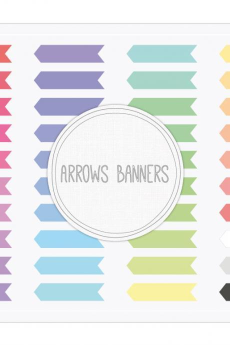 Arrows Banners Clip Art + Digital Collage Sheet