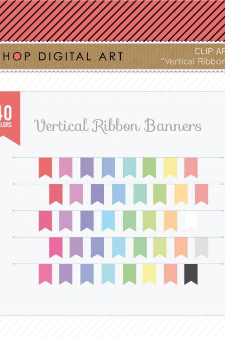 Vertical Ribbon Banners Clip Art + Digital Collage Sheet