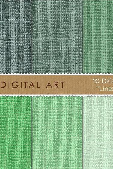Digital Papers - Linen - Green Shades
