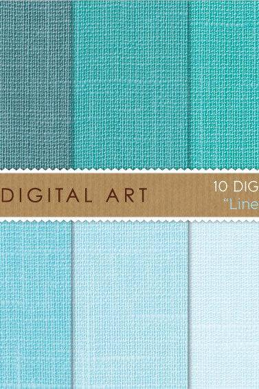 Digital Papers - Linen - Aqua Shades