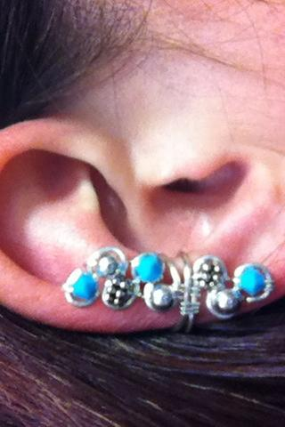 Ear Cuff Turquoise and silver