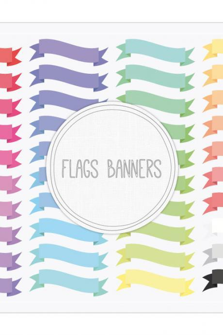 Flags Ribbon Banners Clip Art + Digital Collage Sheet