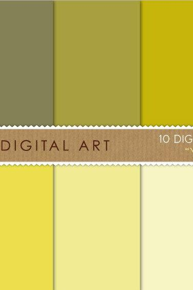 Digital Papers Yellow Shades 12x12 inches - INSTANT DOWNLOAD - Buy Any 2 Packs Get 1 Free