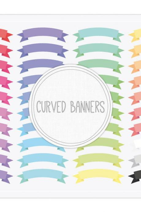 Curved Ribbon Banners Clip Art + Collage Sheet