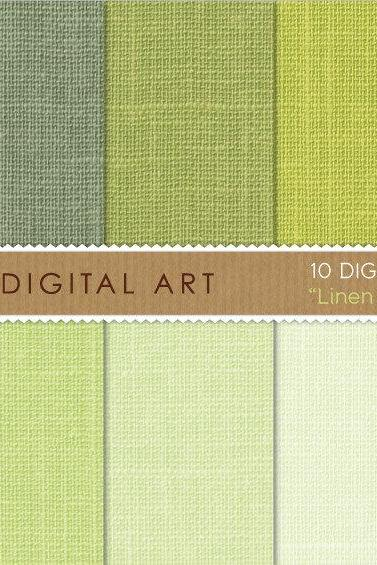 Digital Papers - Linen - Pistachio Shades