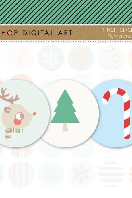 1' Digital Collage Sheet Circles - Christmas - INSTANT DOWNLOAD - Buy Any 2 Packs Get 1 Free
