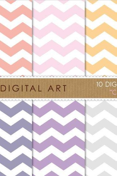 Digital Papers - Chevron Pastels
