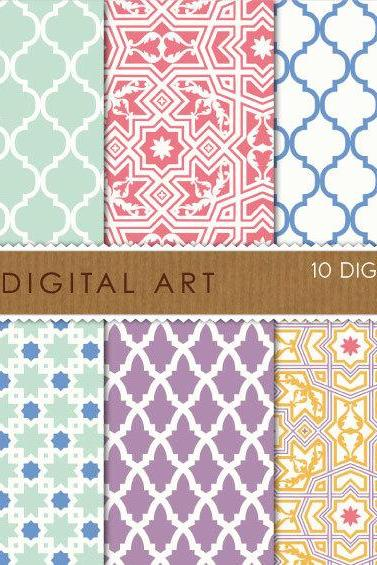 Digital Papers - Arabesque 12x12 inches - INSTANT DOWNLOAD - Buy Any 2 Packs Get 1 Free
