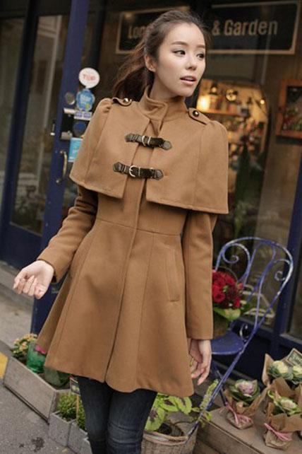 Elegant High Waist Cloak Pattern Flare Coat - Khaki