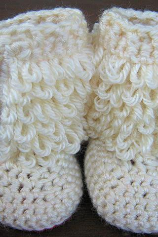 Crochet Baby Booties Furry Ugg Inspired Loopy Diva Boots 6 months to 1 year