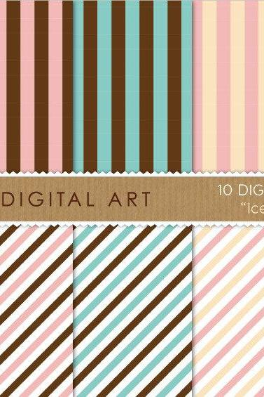 Digital Papers - Ice Cream Stripes