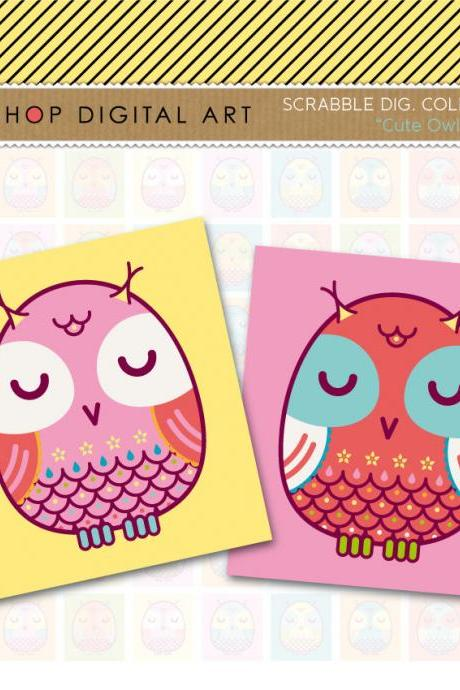 Scrabble Digital Collage Sheet - Cute Owls