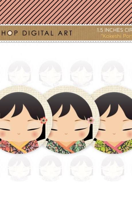 "1.5"" Digital Collage Sheet Circles - Kokeshi Dolls Portrait"