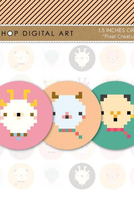 1.5' Digital Collage Sheet Circles - Pixel Creatures - INSTANT DOWNLOAD - Buy Any 2 Packs Get 1 Free