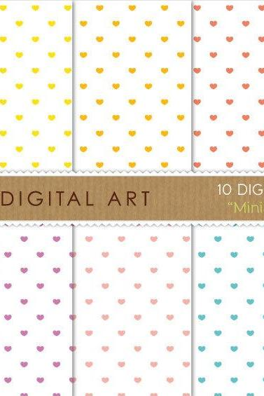 Digital Papers Mini Hearts on White 12x12 inches - INSTANT DOWNLOAD - Buy Any 2 Packs Get 1 Free