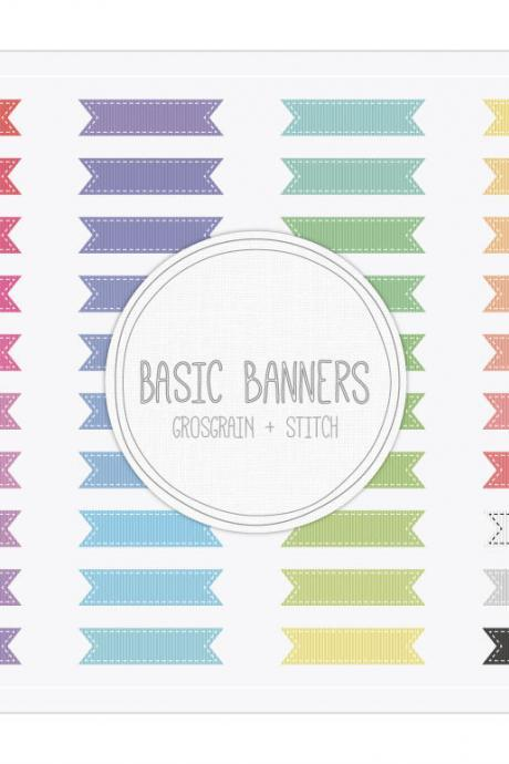Basic Ribbon Banners Grosgrain Stitch Clip Art - INSTANT DOWNLOAD - Buy Any 2 Packs Get 1 Free