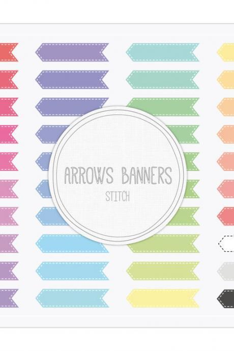 Arrows Ribbon Banners Stitch Clip Art - INSTANT DOWNLOAD - Buy Any 2 Packs Get 1 Free