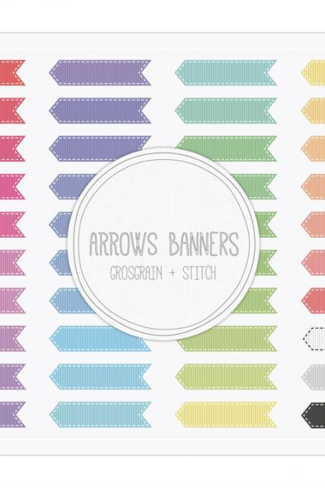 Arrows Banners Grosgrain Stitch Clip Art - INSTANT DOWNLOAD - Buy Any 2 Packs Get 1 Free
