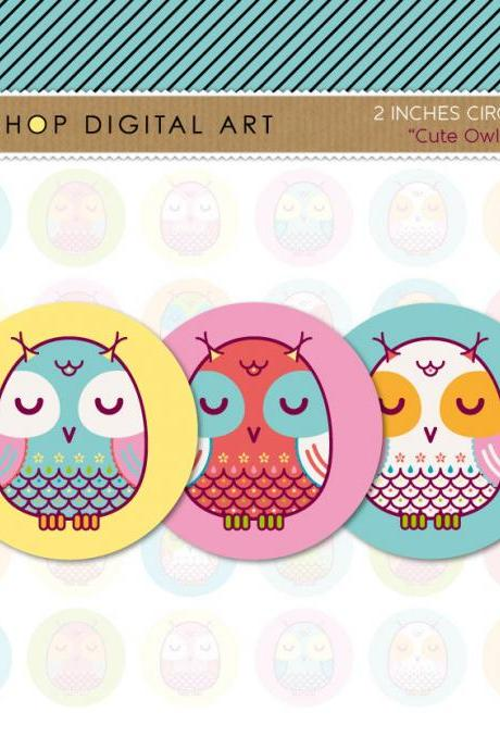 2 inch Circles Owls - Digital Collage Sheets Circles - Cute Owls - INSTANT DOWNLOAD - Buy Any 2 Packs Get 1 Free